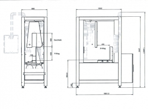 Zeichnung Diamantdrahtsäge DS150NC Maschine mit Maßen